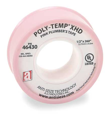 Thread Seal Tape, 1/2 In. W, 260 In. L