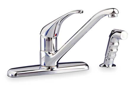 Swing Kitchen Faucet with Side Sprayer,  Polished Chrome,  4 Holes,  Lever Handle