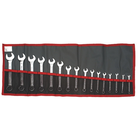 Combo Wrench Set, 6/12 Pt, 3.2-17mm, 16 Pc