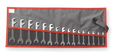 Open End Wrench Set, 15 Deg, 3.5-17mm, 16Pc