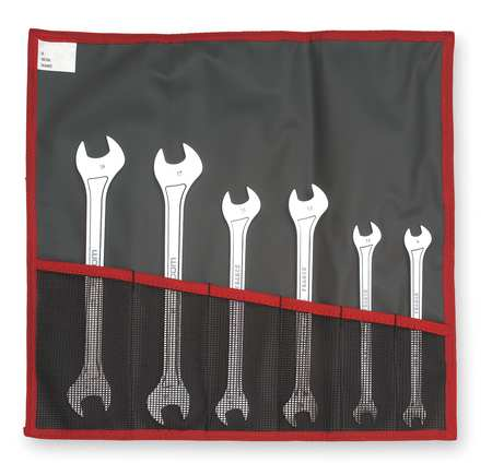Open End Wrench Set, 15 Deg, 6 Pc