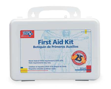 First Aid Kit, Bulk, White, 25 People