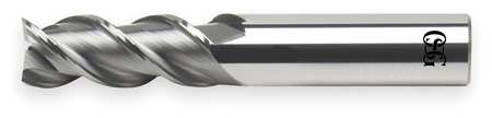 End Mill, Carbide, 3/4, 3 FL, SGL Sq End, CC