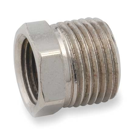 "1"" FNPT x 1/2"" MNPT Chrome Plated Brass Hex Bushing"