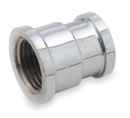 "1/2"" x 3/8"" FNPT Chrome Plated Brass Reducing Coupling"