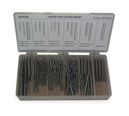 Taper Pin Asst, Std, Stl, 120 Pcs, 15 Sizes