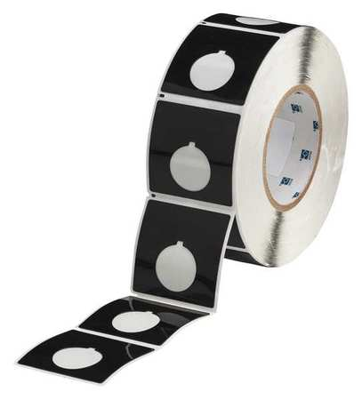"2-2/5"" x 2-2/5"",  Adhesive Push Button Label,  Black"