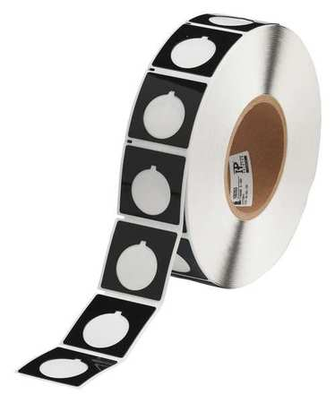 "1-4/5"" x 1-4/5"",  Adhesive Push Button Label,  Black"