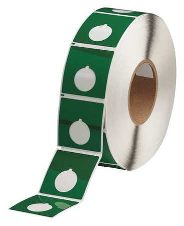 "2-2/5"" x 2-2/5"",  Adhesive Push Button Label,  Green"