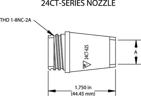 Nozzle, Bore 1/2 In, Series 24, PK2