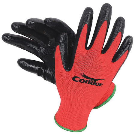 Coated Gloves, S, Black/Red, PR
