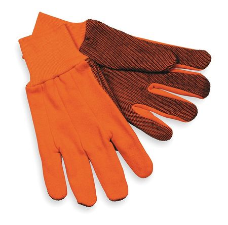 Jersey Gloves, Poly/Cotten, L, High Visibility Orange, PR