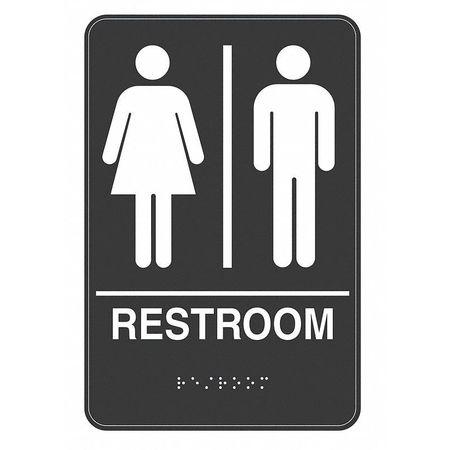 Restroom Sign, 9 x 6In, WHT/BK, Plastic, ENG