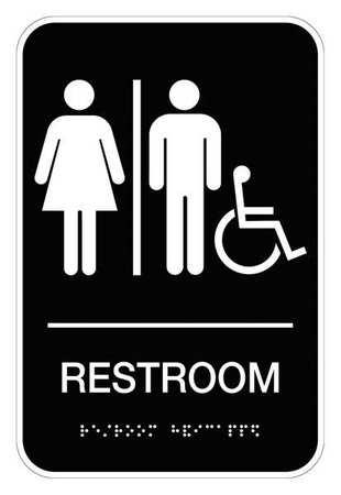 Restroom Sign, 9 x 6In, WHT/BK, Vinyl, ENG