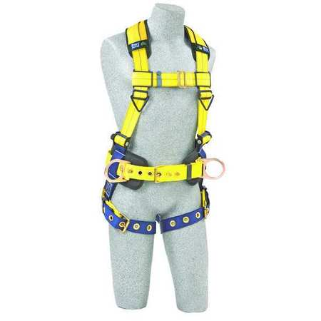Full Body Harness, M, 420 lb., Blue/Yellow