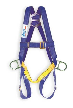 Full Body Harness, Universal, 320lb, Blk/Bl