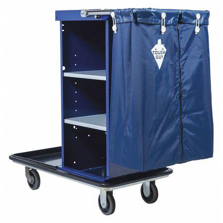 Housekeeping Cart, Blue, Zinc Plated