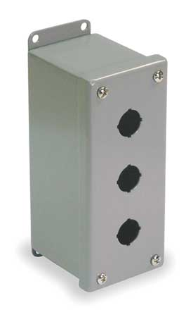 Pushbutton Enclosure, 22mm, 3 Holes, Steel