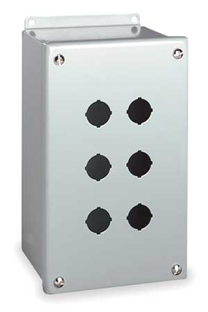 Pushbutton Enclosure, 22mm, 6 Holes, Steel