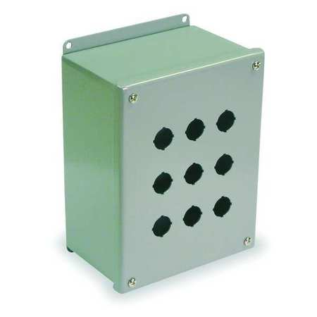 Pushbutton Enclosure, 22mm, 9 Holes, Steel