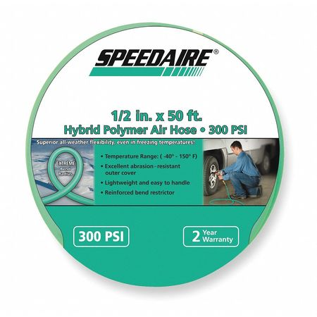 "1/2"" ID x 50 ft Polymer Coupled Air Hose 300 PSI GN"