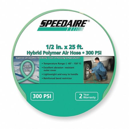 "1/2"" ID x 25 ft Polymer Coupled Air Hose 300 PSI GN"