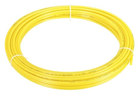 "Tubing, 1/4"" OD, Nylon, Yellow, 50 Ft"