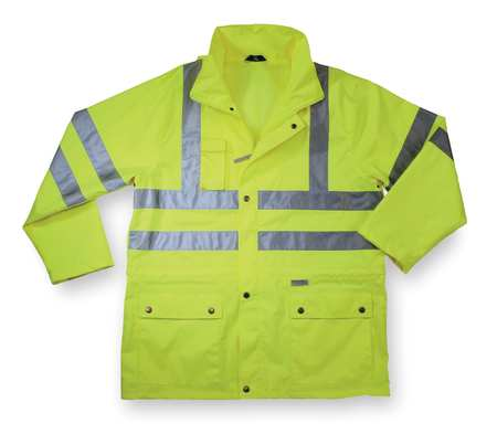 Rain Jacket w/Hood, HiVis Lime, 3XL