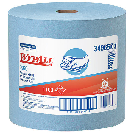 "Wypall Wiper Rolls,  12-1/2"" x 13-2/5"",  1100 Wipes/ Pack"