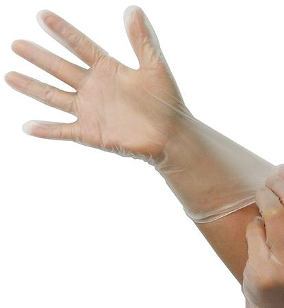 Disposable Gloves, Vinyl, M, Clear, PK100