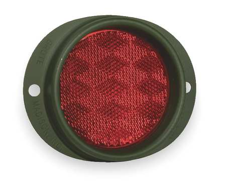 Reflector, Military, Red, Dia 3  5/8 In