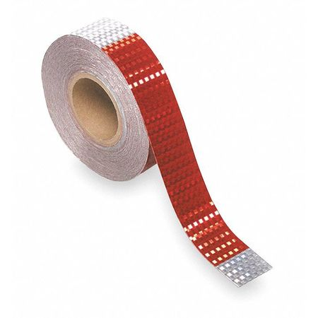 Reflective Tape, 7 In Silver/11 In Red
