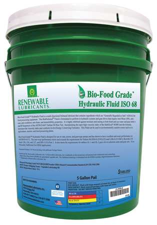 Bio-Food Grade Hydraulic Fluid,  5 gal.,  ISO 68
