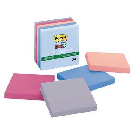 Recycled Super Sticky Notes, 3x3, PK5