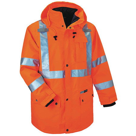 Hooded Jacket, Insulated, Orange, 3XL