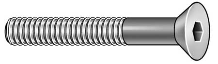 "1/4""-28 x 2"" Black Oxide Alloy Steel Flat Socket Head Cap Screw,  25 pk."