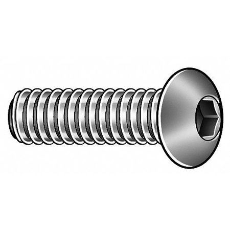 "#2-56 x 3/4"" 18-8 Stainless Steel Button Socket Head Cap Screw,  50 pk."