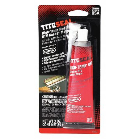 RTV Silicone Sealant, 3 oz Tube, Red