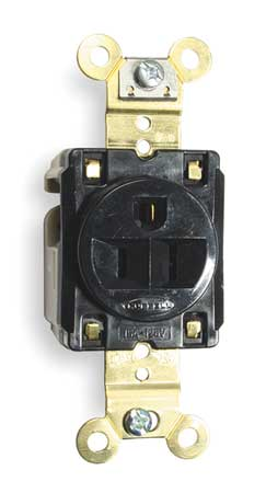 Receptacle, Single, 15A, 5-15R, 125V, Black