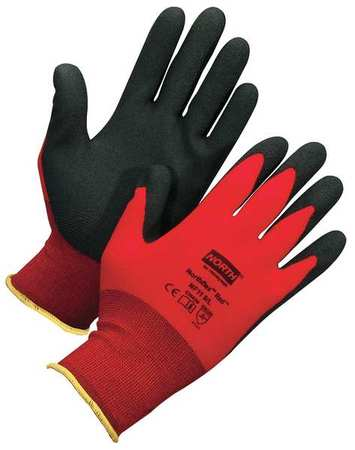Coated Gloves, M, Black/Red, PR
