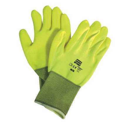Coated Gloves, L, High Visibility Yellow, PR