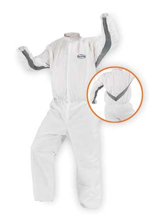 Collared Disp. Coveralls, White, XL, PK25
