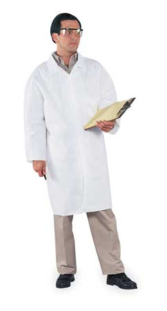LiqParti Protect LabCoat 4Snap KneeLen OpWrist WHT XL 30/Cs