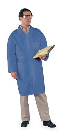 Disp. Lab Coat, M, SMS Laminate, Blue, PK25