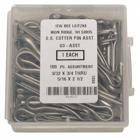 Cotter Pin Asst, 18-8, 100 Pcs, 14 Sizes
