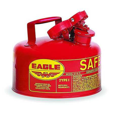 "Type I Safety Can, 1 gal., Red, 8"" H, 9"" OD"