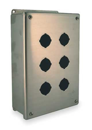 Pushbutton Enclosure, 30mm, 6 Holes, Steel