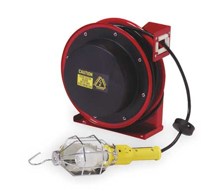 REELCRAFT Incandescent Extension Cord Reel with Hand Lamp