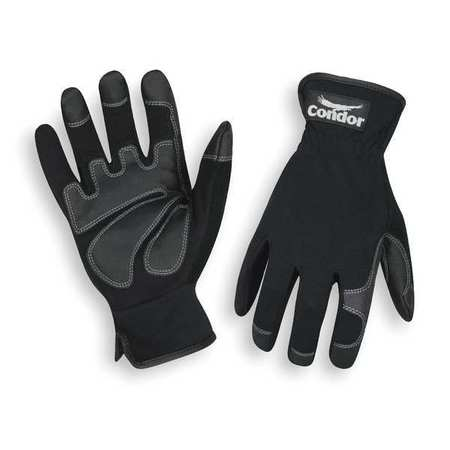 Mechanics Gloves, Spandex, Full, Black, M, PR