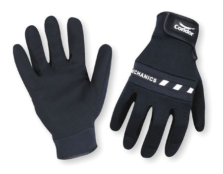 Mechanics Gloves, Hook/Loop, Blk, 2XL, PR
